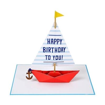 Wenskaart Happy Birthday Bootje