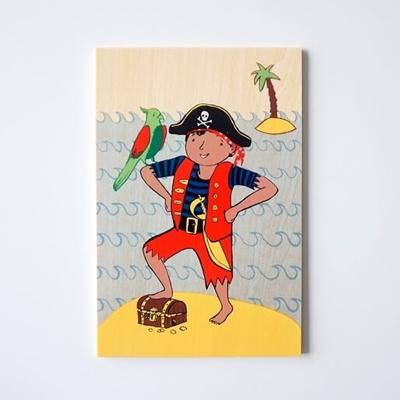 Houten Postkaart Piraat