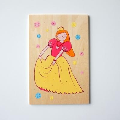 Houten Postkaart Prinses