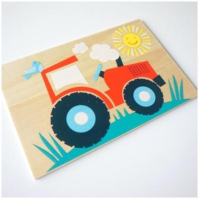 Houten Postkaart Traktor