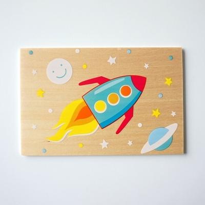 Houten Postkaart Raket