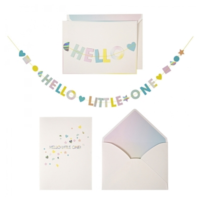 "Wenskaart met Mini-slinger ""Hello Little One"""