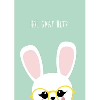 """Postkaart Brilkonijn """"Hoe gaat het?"""""""