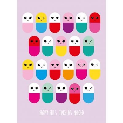 Postkaart Happy Pills