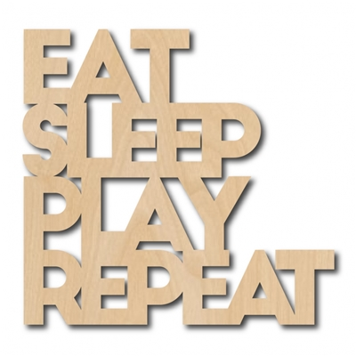 Houten Decoratie Eat Sleep Play Repeat