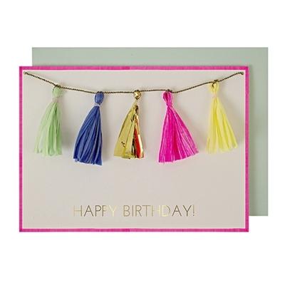 """Wenskaart Tassels """"Happy birthday"""""""