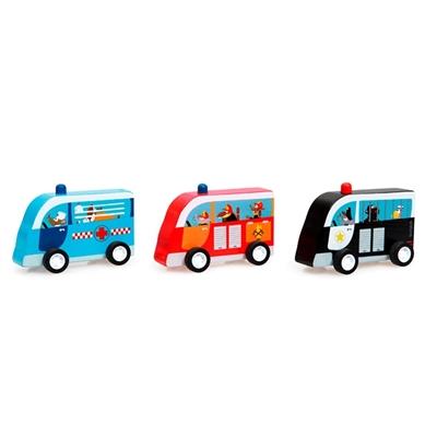 Set van 3 Houten Pull-Back Auto's Hulpdiensten